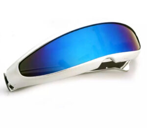 Futuristic Cyclops White Visor Mirrored Lens Sunglasses from Madaame