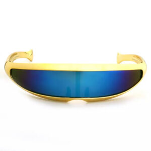 Futuristic Cyclops Yellow Visor Mirrored Lens Sunglasses from Madaame