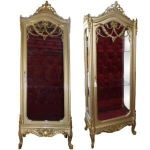 Living Room Baroque Gold Glass Display Cabinet