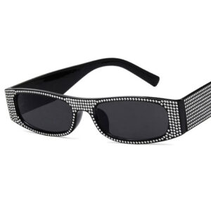 Rhinestone Designer Rectangle Sunglasses with shining frame from Madaame