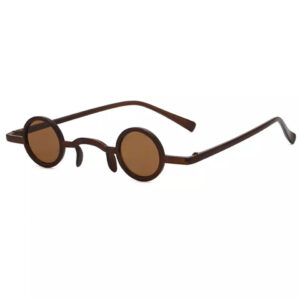 Vintage Retro Brown Small Round Sunglasses from Madaame