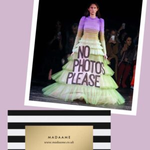 No Photos Please long sleeved multi coloured coutre gown dress